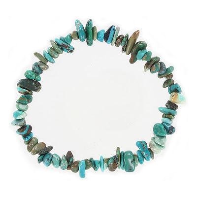 Elastic bracelet, Chinese turquoise chips, approx. 7 inches