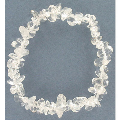 Elastic bracelet, crystal quartz chips, approx. 7 inches