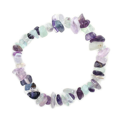 Elastic bracelet, fluorite chips, approx. 7 inches
