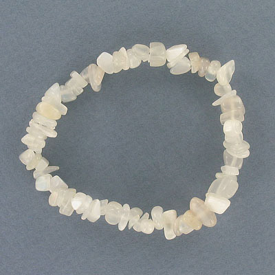 Elastic bracelet, genuine moonstone chips, approx. 7 inches