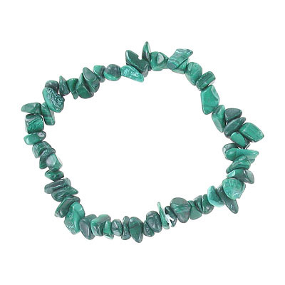 Elastic bracelet, malachite chips, approx. 7 inches