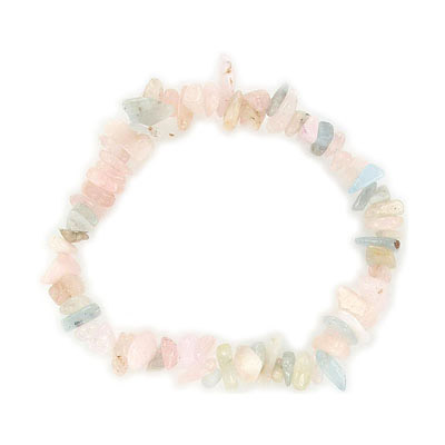 Elastic bracelet, morganite chips, approx. 7 inches