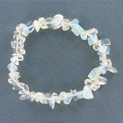 Elastic bracelet, synthetic moonstone chips, approx. 7 inches