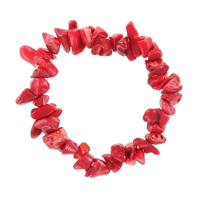 Elastic bracelet, red coral chips, approx. 7 inches