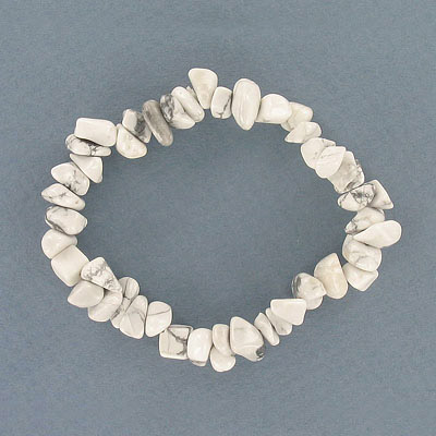 Elastic bracelet, white howlite chips, approx. 7 inches