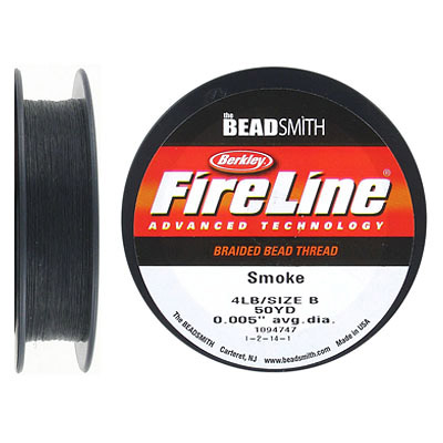 Fireline beading thread .005 inch, smoke grey, 4lb, 50 yards