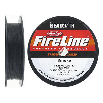 Fireline beading thread .006 inch, smoke grey, 6lb, 50 yards