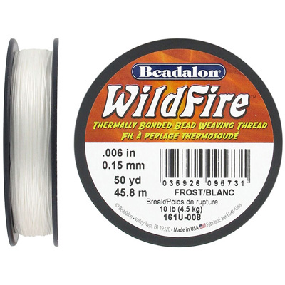 Beading thread thermally bonded .006 inch(0.15mm) 50 yards (45.8 meters) forsted white