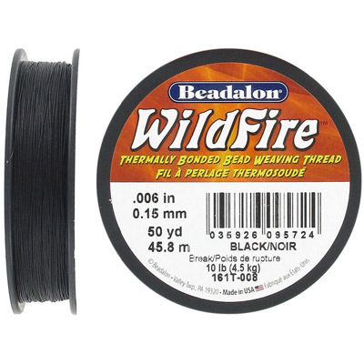 Beading thread thermally bonded .006 inch(0.15mm) 50 yards (45.8 meters) black