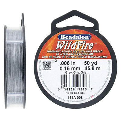 Wildfire beading thread .006 inch (0.15mm), grey, 10lb, 50 yards