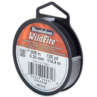 Beadalon wildfire, beading thread thermally bonded .008 inch (0.20mm) 125 yards (114.4 metres), 12 lbs test, black