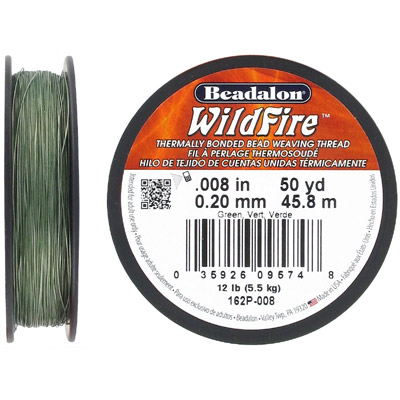 Beading thread thermally bonded .008 inch (0.20mm) 50 yards (45.8 meters), green