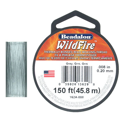 Beadalon Wildfire, beading thread thermally bonded .008 inch (0.20mm) 50 yards (45.8 meters), 12 lbs test, grey