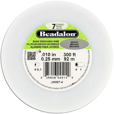 Beadalon wire, 7 strands, .010 thickness, bright, 300 feet