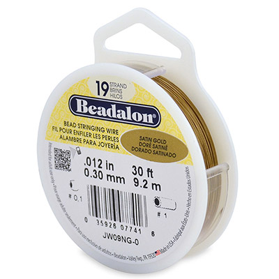 Beadalon wire, 19 strands, .012 thickness, gold, 30 feel