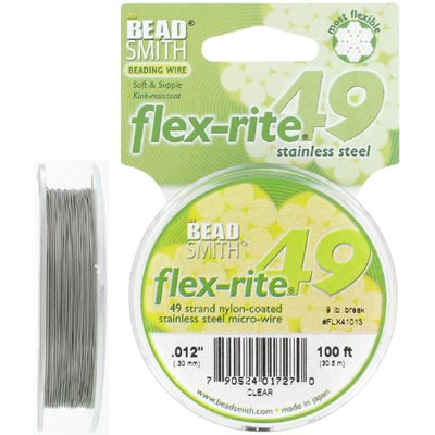 Wire 0.012 inch thickness (49 strands) flexrite, clear, 100 feet