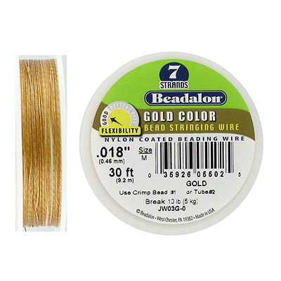 Beadalon, nylon coated beading wire, .018 (0.46mm), 7 strands, gold, 30 feet
