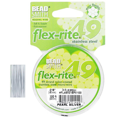 Tigertail, 0.018, flex-rite, 49 strands, pearl silver, 100 feet