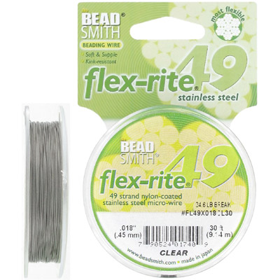 Tigertail, 0.018, flex-rite, 49 strands, nylon-coated stainless steel, clear, 30 feet