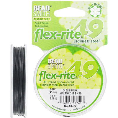 Tigertail, 0.018, flex-rite, 49 strands, black, clear, 30 feet