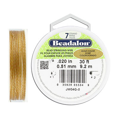 Beadalon tigertail, 1x7 .020 inch wire, gold, 30 feet