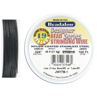 Wire 0.024 inch thickness (19 strands), black color, 100 feet
