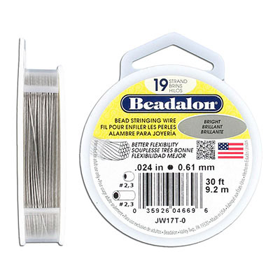 Bead stringing wire, .024, 19 strands, bright, 30 feet