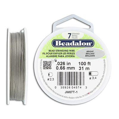 Tigertail, 1x7 .026 inch wire, bright, 100 feet