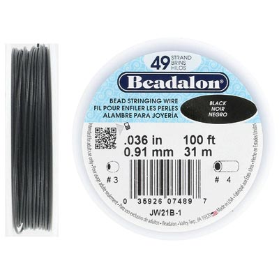 Wire 0.036 inch thickness (49 strands), black color, 100 feet