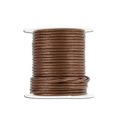 Round leather cord, 1.5mm, gauriya, 10 meters spools