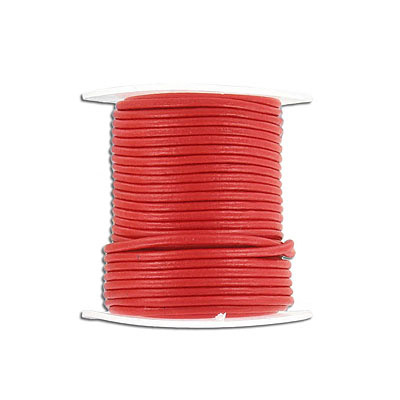 Round leather cord, 1.5mm, red, 10 meters spools