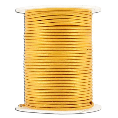 Round leather cord, 1.5mm, gold, 25 meters