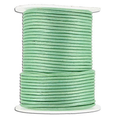 Leather cord, 1.5mm, round, metallic seafoam, 25 meters