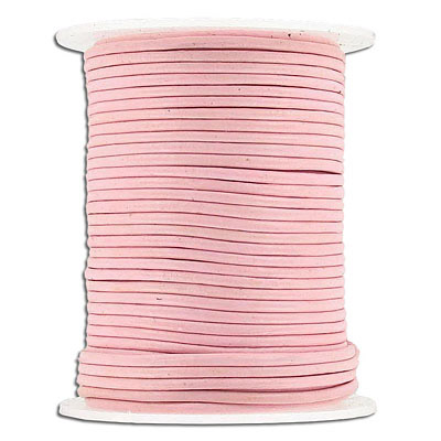 Round leather cord, 1.5mm, pink, 25 meters