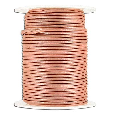 Leather cord, round, 1.5mm, salmon, 25 meters