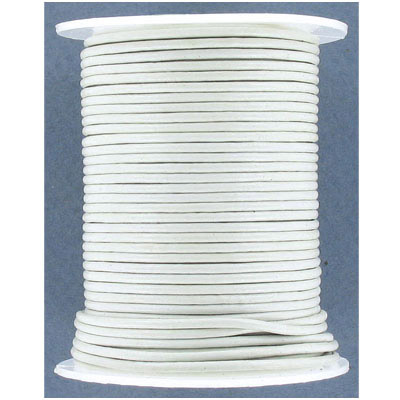 Leather cord, 1.5mm, white, 25 meters