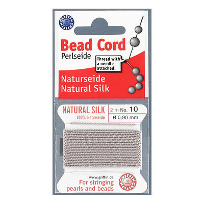 Griffin silk bead cord, grey, #10 (0.9mm), 2 metres per pack