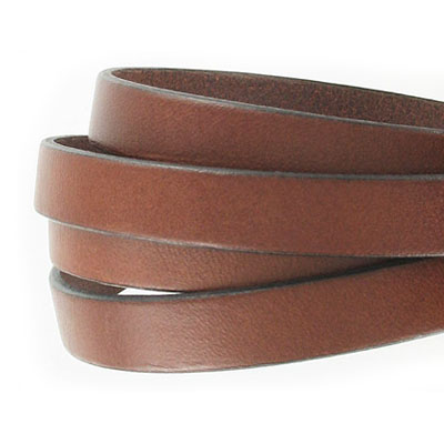 Flat Regaliz leather cord, 10x2mm, brown, pack of 1 meter