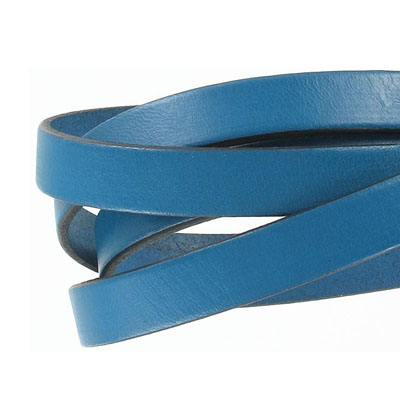 Flat Regaliz leather cord, 10x2mm, gentian blue, pack of 1 meters