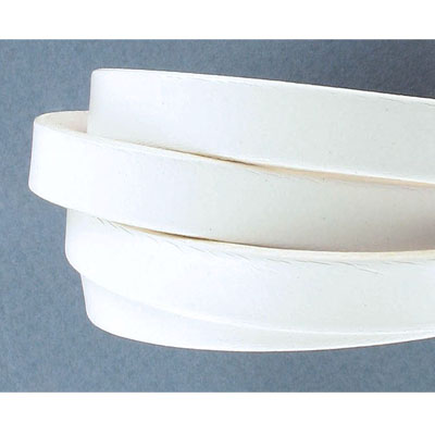 Flat Regaliz leather cord, 10x2mm, white, pack of 1 meter