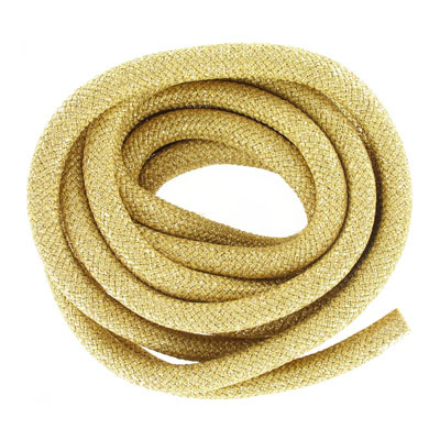 Climbing cord, 10mm, polyester, metallic gold, pack of 3 meters. Made in Europe