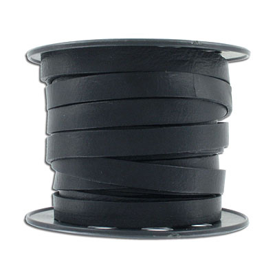 Flat leather, 10x2mm, black, 10 meters spool