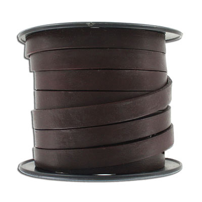 Flat leather, 10x2mm, brown, 10 meters spool