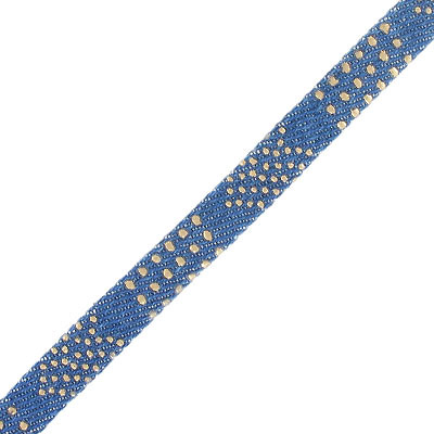 Flat cord, dark denim, 10x2mm, with gold pattern (hotfix), 3 meters