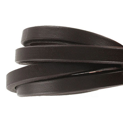 Regaliz leather cord, oval, 10x6mm, brown,  pack of 1 meter