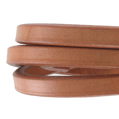 Regaliz leather cord, oval, 10x6mm, cognac, pack of 1 meter