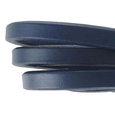 Regaliz leather cord, oval, 10x6mm, navy blue, pack of 1 meter