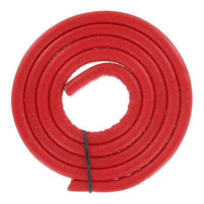 Regaliz leather cord, oval, 10x6mm, red,  pack of 1 meter