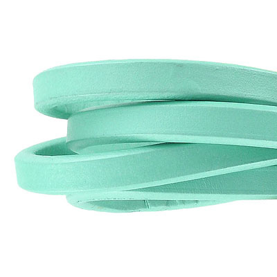 Regaliz leather cord, oval, 10x6mm, seafoam,  pack of 1 meter