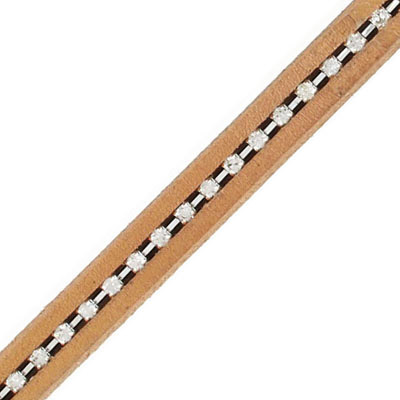 Regaliz leather cord, oval, 10x6mm, natural, with rhinestones, pack of 1 meter